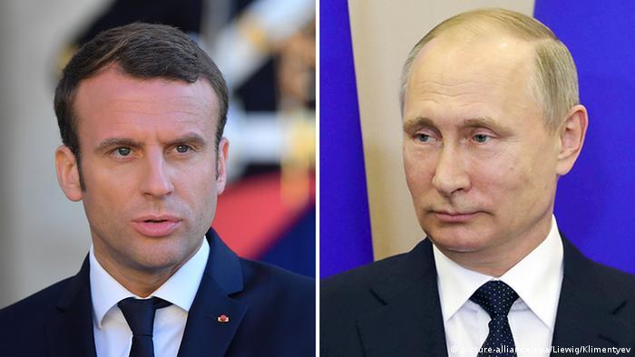 Emmanuel Macron und Wladimir Putin Bildkombo