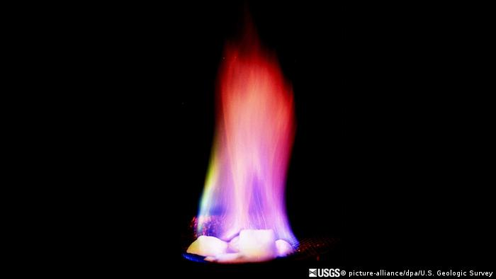 Methane hydrate in flames