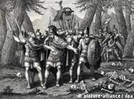 Germanicus entierra a los legionarios romanos después de la batalla. Grabado del siglo XVIII.