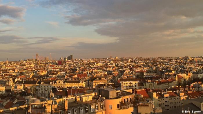 Sunset over rooftops in Vienna (Bob Berwyn)