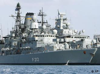 The German frigate 'Karlsruhe' anchored in Djibouti