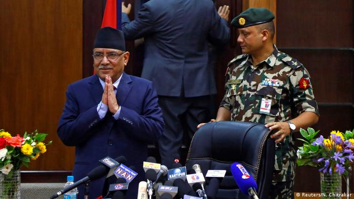 Nepal Pushpa Kamal Dahal steps down fom office (Reuters/N. Chitrakar)