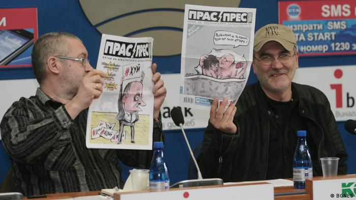 Satire Zeitung Prass-Press Herausgeber Christo Komarnitzki und Ivan Bakalo (BGNES)