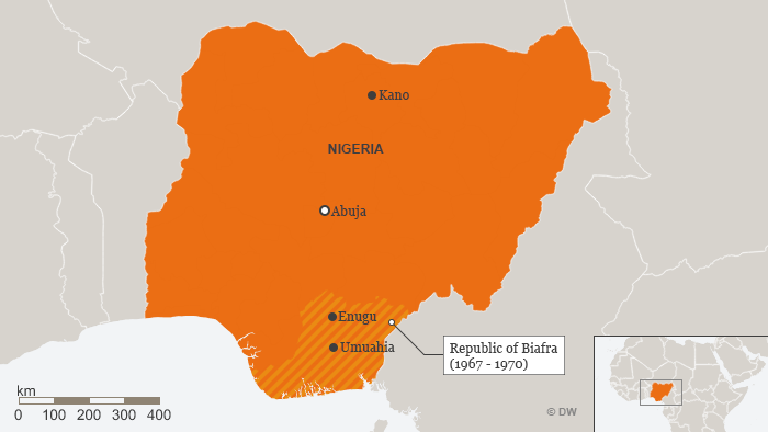 A map of the republic of Biafra in Nigeria