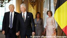 24.5.2017*** US President Donald Trump, King Philippe - Filip of Belgium, First Lady of the US Melania Trump and Queen Mathilde of Belgium pictured during a reception at the Royal Palace in Brussels, Wednesday 24 May 2017. President of The United States of America Trump is on a two day visit to Belgium, to attend a NATO (North Atlantic Treaty Organization) summit on Thursday. BELGA PHOTO BENOIT DOPPAGNE Foto: Benoit Doppagne/BELGA/dpa |