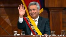 24.5.2017*** Ecuadorean new President Lenin Moreno waves during his inauguration ceremony at the National Assembly in Quito on May 24, 2017. Ecuador's new president Lenin Moreno took office Wednesday, tasked with steering a flagship of the Latin American left through troubled economic and political waters. / AFP PHOTO / Rodrigo BUENDIA (Photo credit should read RODRIGO BUENDIA/AFP/Getty Images)