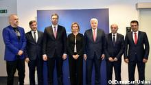 From left to right: Mr Edi RAMA, Albanian Prime Minister; Mr Denis ZVIZDIC, Chairman of the Council of Ministers of Bosnia and Herzegovina; Mr Aleksandar VUCIC, Prime Minister of Serbia; Ms Federica MOGHERINI, High Representative of the EU for Foreign Affairs and Security Policy; Mr Dusko MARKOVIC, Prime Minister of Montenegro; Mr Isa MUSTAFA, Prime Minister of Kosovo; Mr Zoran ZAEV, Prime minister-designate of the former Yugoslav Republic of Macedonia.