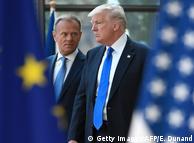 Президент Європейської Ради Дональд Туск (л) та президент США Дональд Трамп (п) у Брюсселі, 25 травня