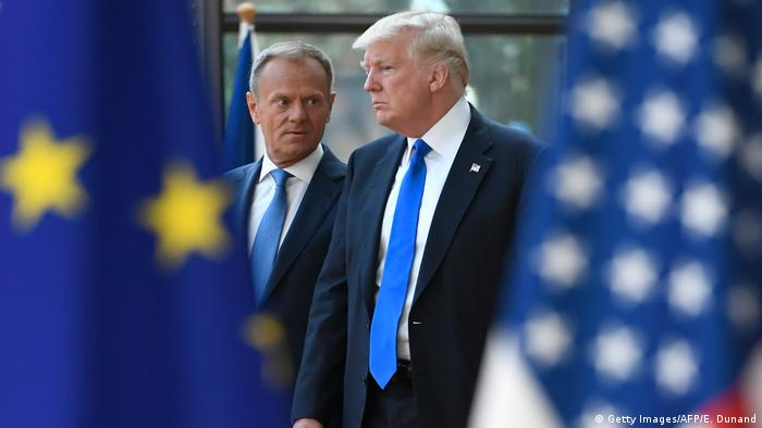 Belgien Donald Tusk und Donald Trump (Getty Images/AFP/E. Dunand)