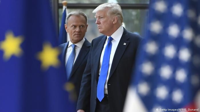 Belgien Donald Tusk und Donald Trump (Getty Images/AFP/E. Dunand)