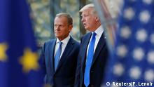 25.5.2017*** U.S. President Donald Trump (R) walks with the President of the European Council Donald Tusk in Brussels, Belgium, May 25, 2017. REUTERS/Francois Lenoir TPX IMAGES OF THE DAY