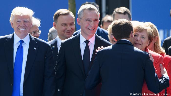 NATO summit with Donald Trump, Emmanuel Macron, Angela Merkel, Jens Stoltenberg