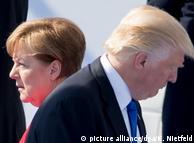 Ангела Меркель и Дональд Трамп на встрече НАТО в Брюсселе, 25 мая