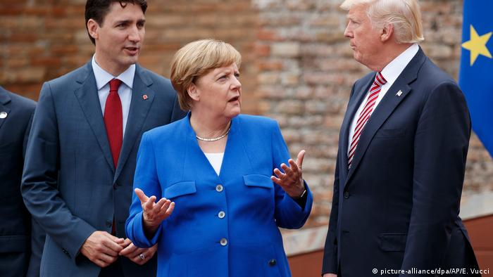 Justin Trudeau, Angela Merkel and Donald Trump
