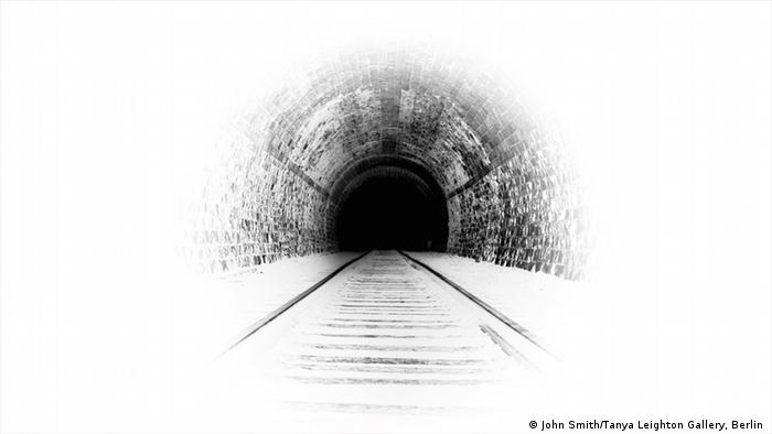 Still from John Smith's video White Hole showing train tracks in a tunnel (John Smith/Tanya Leighton Gallery, Berlin )