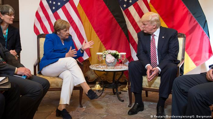 G7-Treffen Sizilien German Chancellor Angela Merkel and U.S. President Donald Trump before talks at the G7 summit in Taormina