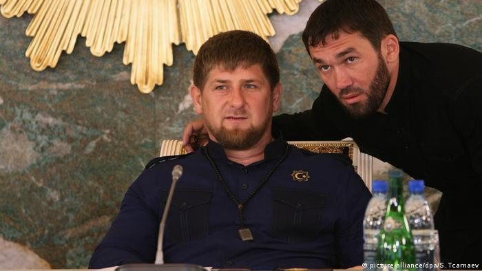 Head of Chechnya Ramzan Kadyrov, left, and Chief of Staff of the Chechen administration and the government office, Magomed Daudov,