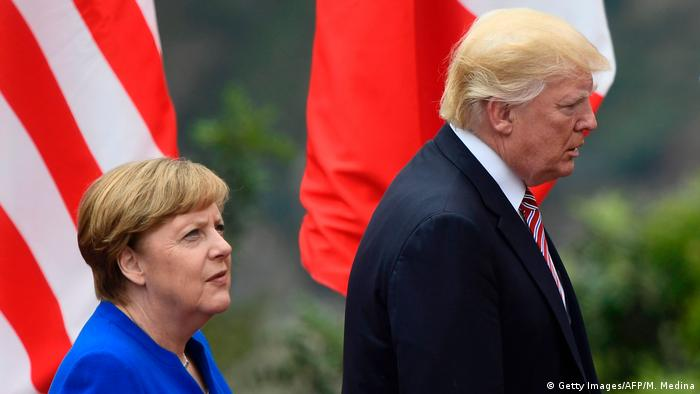Angela Merkel cu Donald Trump la summit-ul G7 (Getty Images/AFP/M. Medina)