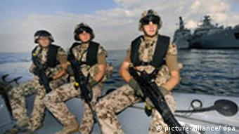 German marines from the frigate Karlsruhe