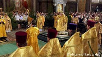 Gottesdienst in einer Orthodoxen Kirche in Moskau (7.1.2007, Quelle: DPA)