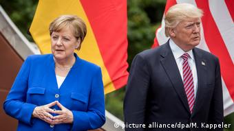 Donald Trump and Angela Merkel at the G7 meeting in May 2017 in Sicily (picture alliance/dpa/M. Kappeler)