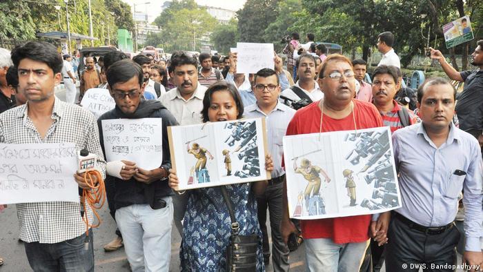 Kalkutta Journalisten Proteste (DW/S. Bandopadhyay)