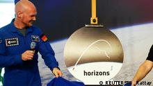 29.05.2017+++Köln, Deutschland+++ German astronaut Alexander Gerst unveils the logo and name horizons of his next mission to the International Space Station (ISS) to run from April 2018 to October 2018, during a news conference at the European Astronaut Centre (EAC) in Cologne, Germany May 29, 2017. REUTERS/Wolfgang Rattay