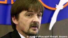 Montenegro - Miodrag Vukovic bei Pressekonferenz