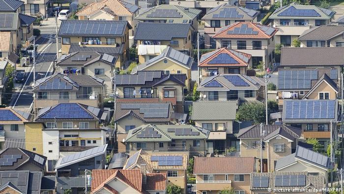 Techos con paneles solares en Ota, Japón.