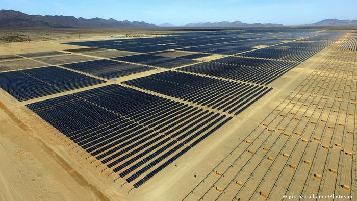 The world's largest solar plant, under construction near Blythe in Riverside County, California