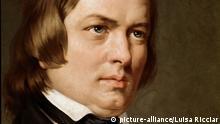 Portrait de Robert Schumann (1810-1856), compositeur allemand. Peinture anonyme. Conservatorio di musica San Pietro a Majella, Naples. | Keine Weitergabe an Wiederverkäufer.