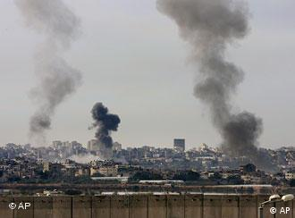 Smoke rises from Israeli missile strikes in the northern Gaza Strip
