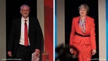 Kombi-Bild Jeremy Corbyn Theresa May TV-Debatte