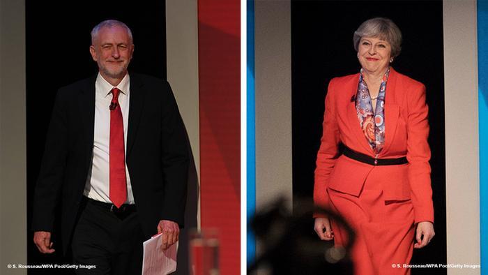 Kombi-Bild Jeremy Corbyn Theresa May TV-Debatte