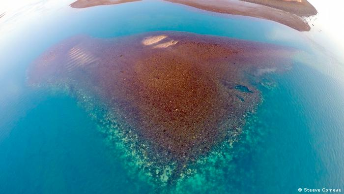 Aerial view of bleached Kimberley reef (Steeve Comeau)