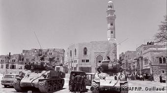 Israeli tanks patrol East Jerusalem on June 10, 1967