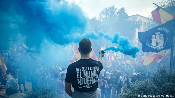 A demonstration of the far-right group Hogar Social Madrid