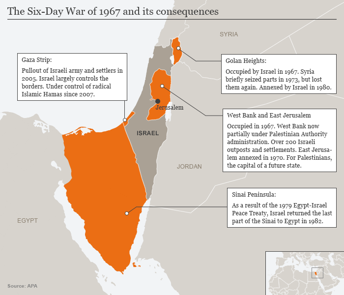 Infografik Karte The Six-Day War of 1967 and it's consequences EN