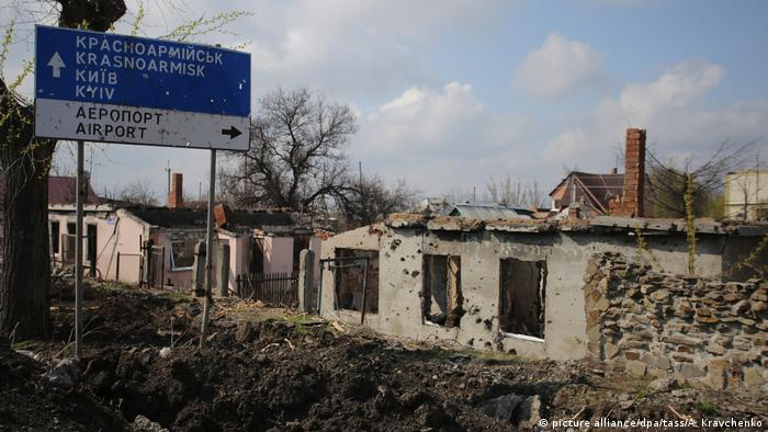 Donetsk in eastern Ukraine showing an area destroyed by fighting