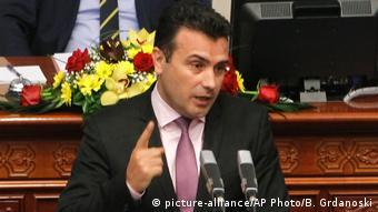 Mazedonien Premierminister Zoran Zaev im Parlament in Skopje