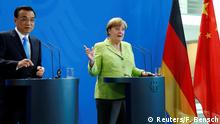 01.06.2017+++ German Chancellor Angela Merkel and Chinese Premier Li Keqiang during news conference at the Chancellery in Berlin, Germany, June 1, 2017. REUTERS/Fabrizio Bensch