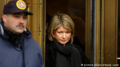 Martha Stewart leaving a courthouse in New York