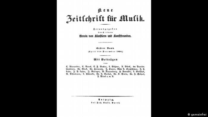 Página da revista Neue Zeitschrift für Musik