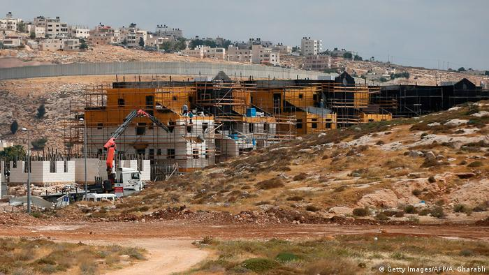 Israel Mauer und Siedlung in Westjordanland