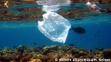 ARCHIV-Eine Plastiktüte schwimmt über Korallen im Roten Meer in Ägypten am 01.08.2007. Die Vermüllung der Meere steht im Mittelpunkt einer am 30.05.2017 beginnenden dreitägigen Konferenz mit Vertretern der G20-Staaten in Bremen. (zu dpa Konferenz der G20-Staaten berät Maßnahmen gegen Vermüllung der Meere vom 29.05.2017) Foto: Mike_Nelson/epa/dpa +++(c) dpa - Bildfunk+++ |