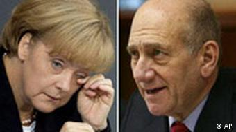 German Chancellor Angela Merkel with Israeli Prime Minister Ehud Olmert