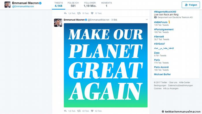 Screenshot Twitter Emmanuel Macron - Pariser Klimaabkommen