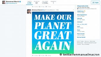Screenshot Twitter Emmanuel Macron Make our planet great again