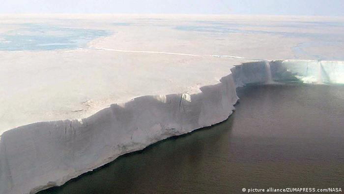 Giant iceberg close to separating from Antarctic ice shelf
