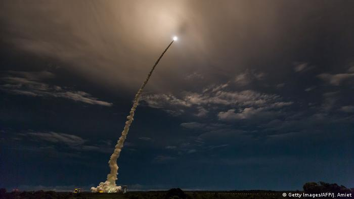 A rocket blasts off from the French Guiana Space Center